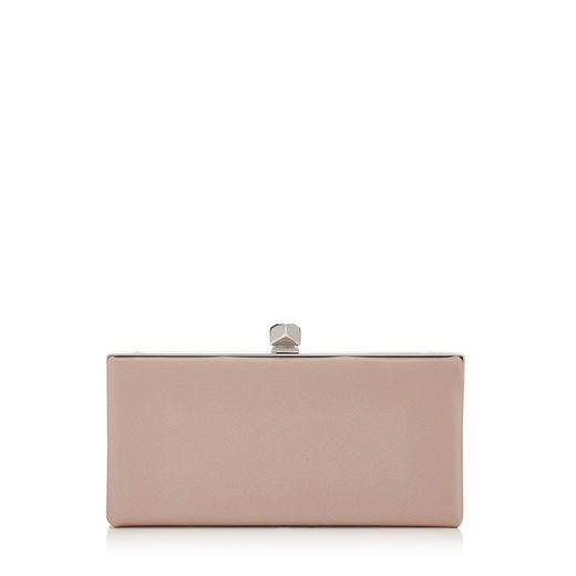 Dusty Rose Satin Clutch Bag with Cube Clasp | Celeste S | Cruise 17 | JIMMY CHOO