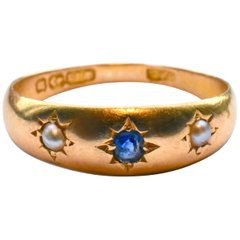 Antique Gypsy Ring with Sapphires and Pearls For Sale at 1stdibs