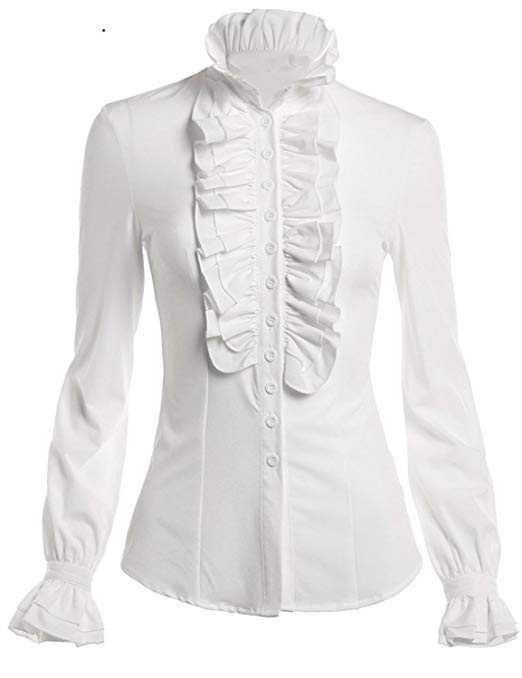 DEARCASE Women Stand-Up Collar Lotus Ruffle Shirts Blouse at Amazon Women's Clothing store: