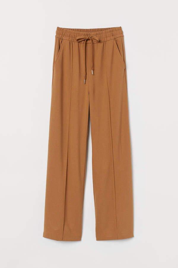 Wide-cut Pull-on Pants - Beige
