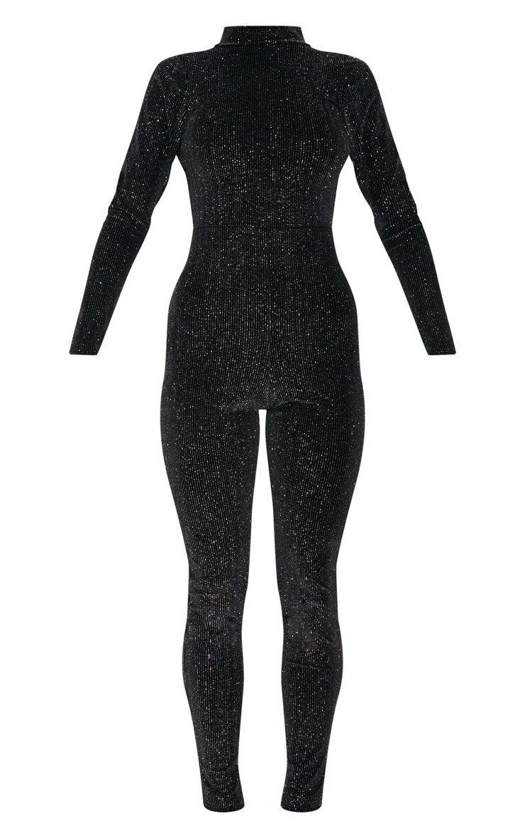 Black Velvet Glitter Backless Jumpsuit   PrettyLittleThing USA