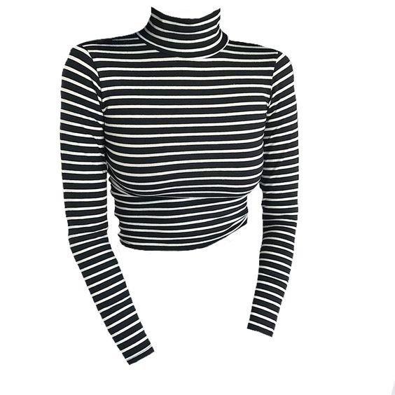 Black & White Long Sleeve Stripe Turtle Neck