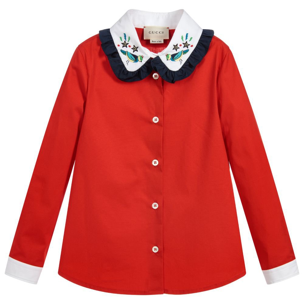 Gucci Red Cotton Blouse