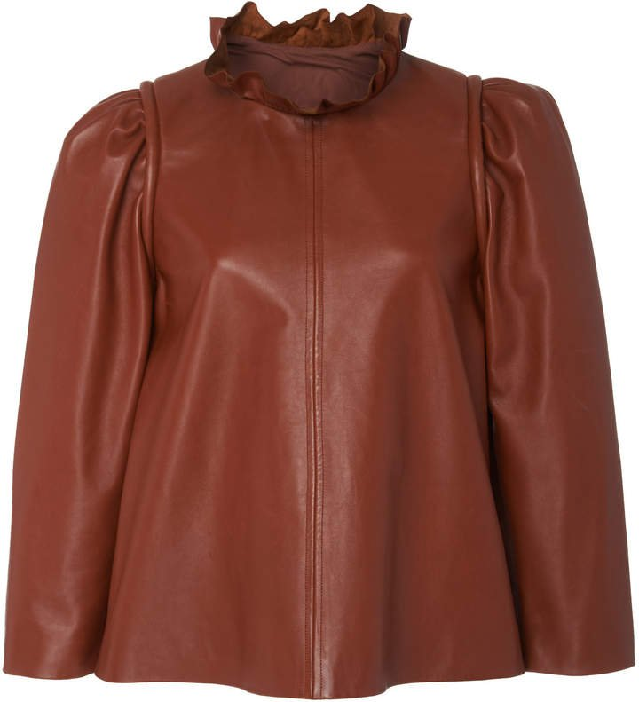Ruffle-Detailed Leather Blouse