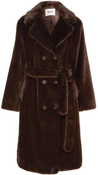 STAND - Faustine Faux Fur Coat - Brown