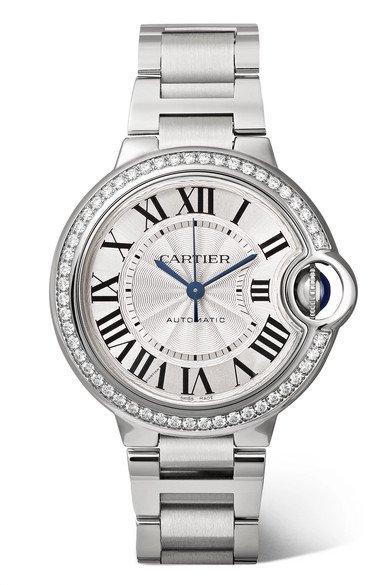 Cartier | Ballon Bleu de Cartier 33mm stainless steel and diamond watch | NET-A-PORTER.COM