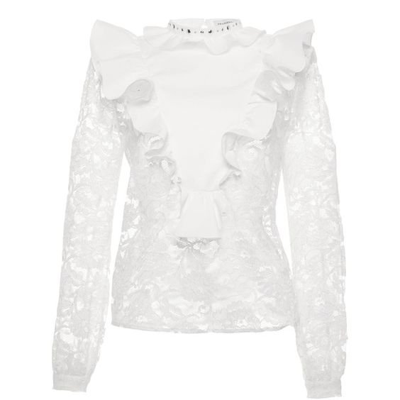 Francesco Scognamiglio Ruffled Lace Long Sleeve Blouse