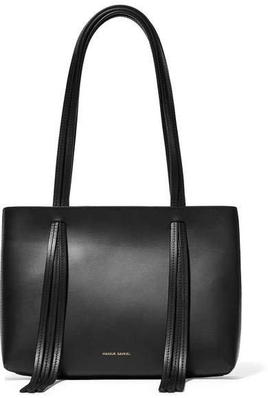 East West Mini Fringed Leather Tote - Black