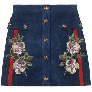 Gucci Embroidered Suede Skirt