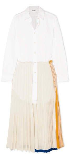 Layered Cotton-poplin And Jersey Maxi Dress - White