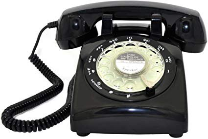 Glodeals Black Vintage Old Fashioned Rotary Dial Home Telephone: Amazon.ca: Electronics