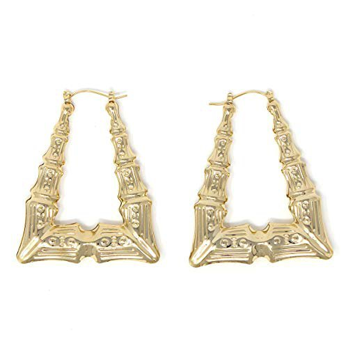 Amazon.com: Triangle Hollow Casting Bamboo Pincatch Earrings (2 inches, Gold Tone): Hoop Earrings: Gateway
