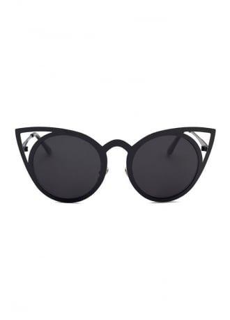 Black Cat Eye Silhouette Metal Frame Sunglasses | Attitude Clothing