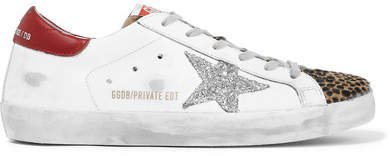 Superstar Glittered Distressed Leather And Leopard-print Calf-hair Sneakers - White