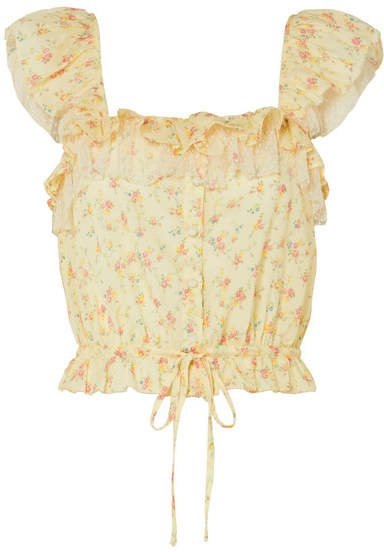Mia Swiss Dot Tulle-trimmed Floral-print Cotton Top - Pastel yellow
