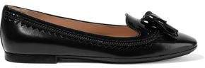 Tasseled Patent Leather-trimmed Leather Ballet Flats