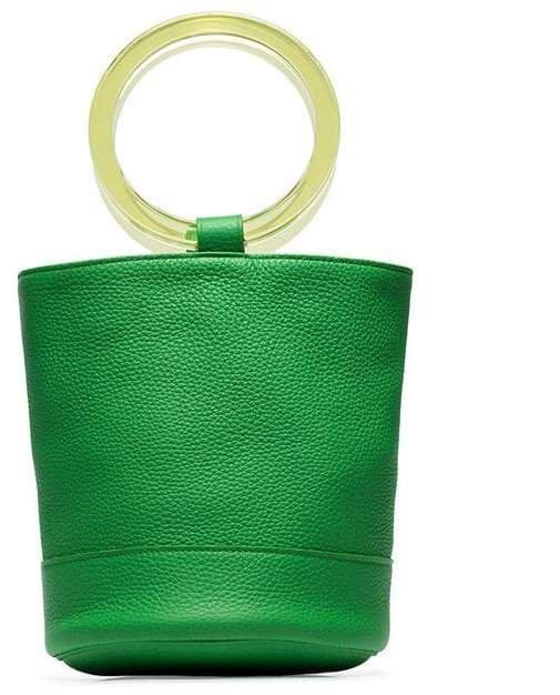 lime green Bonsai 20 bracelet handle leather bucket bag