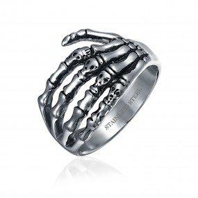 Stainless Steel Gothic Skull Men's Ring - Bling Jewelry