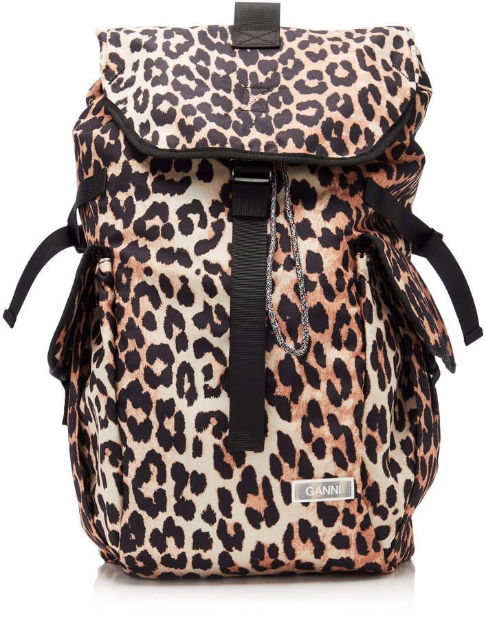 Leopard-Print Shell Backpack