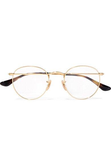 Ray-Ban | Round-frame gold-tone optical glasses | NET-A-PORTER.COM