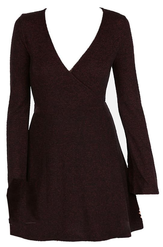 express Cozy Plush Jersey Surplice Fit And Flare Dress