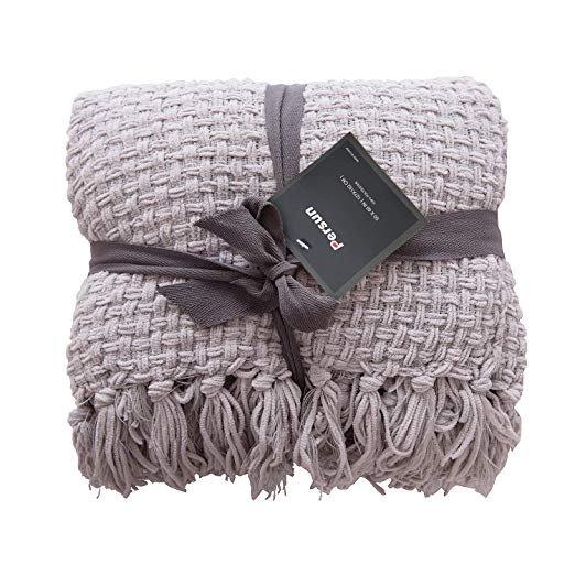 "Amazon.com: PERSUN Lightweight Throw Blanket Soft Decorative Knit Blankets Fringe Sofa Couch Home Decor, 50"" x 60"", Grey: Bedding & Bath"