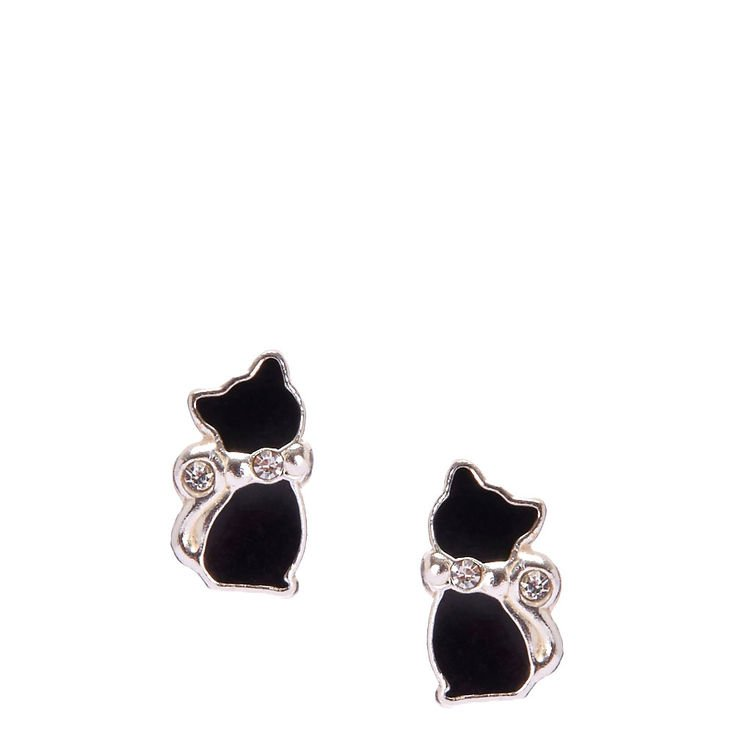 Sterling Silver Crystal Black Cat Earrings | Claire's US