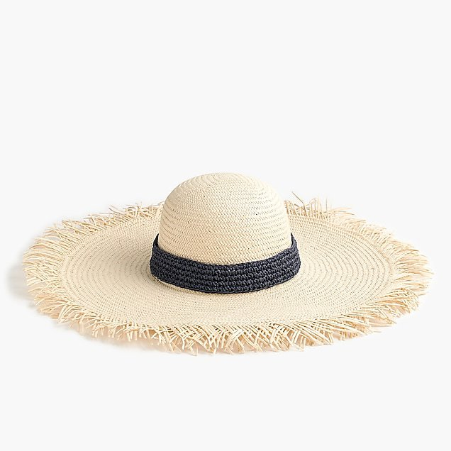 J.Crew: Wide-brim straw hat with crochet band natural