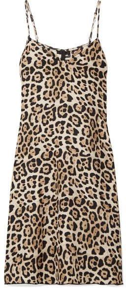 Leopard-print Silk-charmeuse Mini Dress - Leopard print