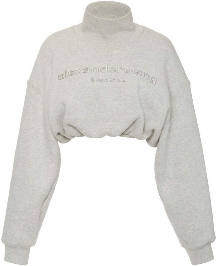 Embroidered Cropped Cotton Mock-Neck Sweatshirt Size: