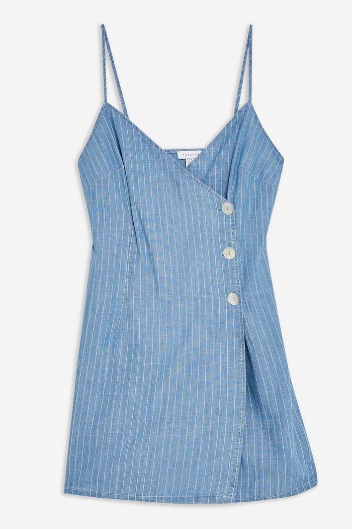 Blue Stripe Wrap Dress | Topshop