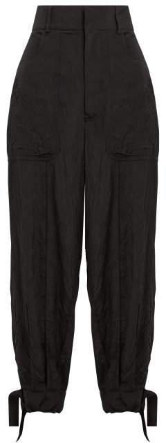 High Rise Tie Cuff Cargo Trousers - Womens - Black