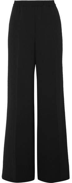 Wide-leg Crepe Pants - Black