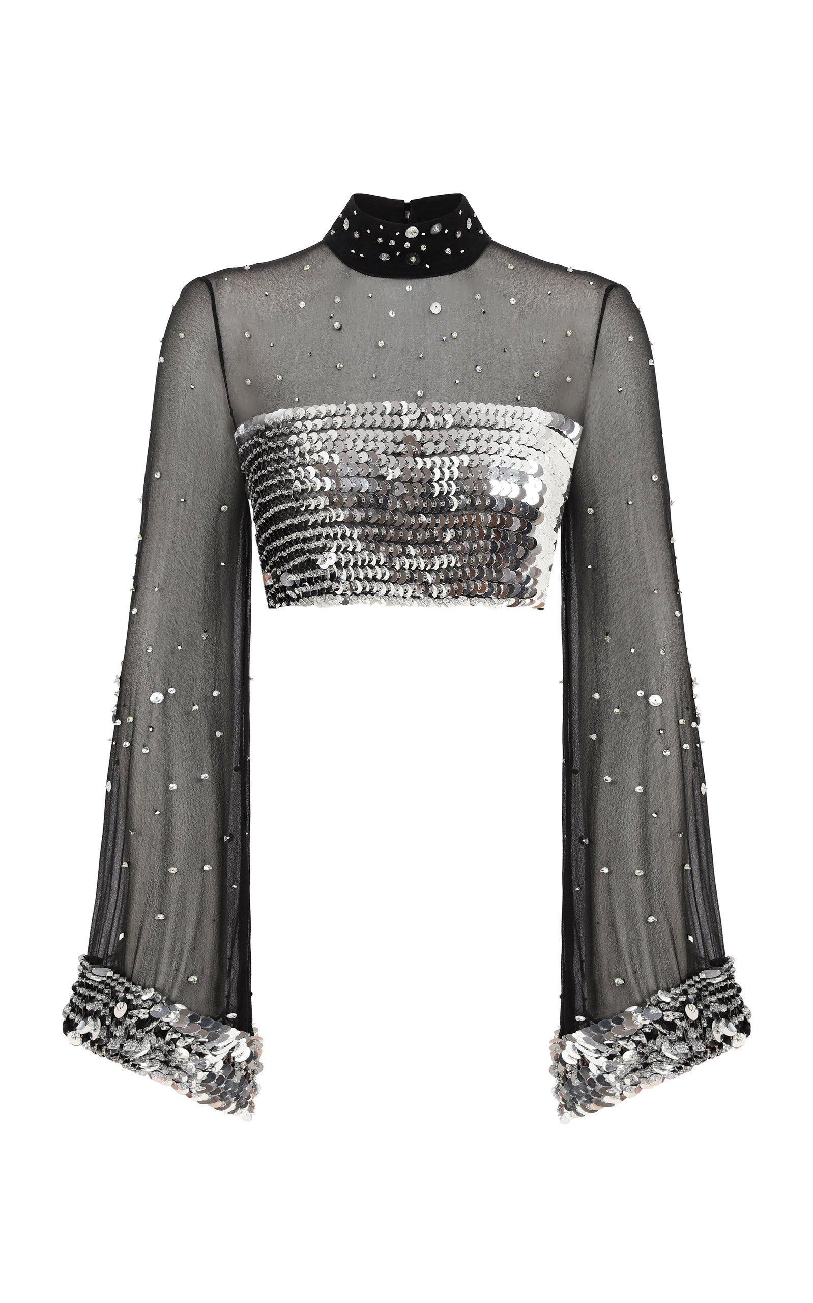 Raisa Vanessa Strass Embellished Black Crop Top
