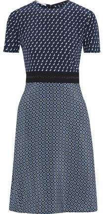 Metallic-trimmed Printed Silk Crepe De Chine Dress