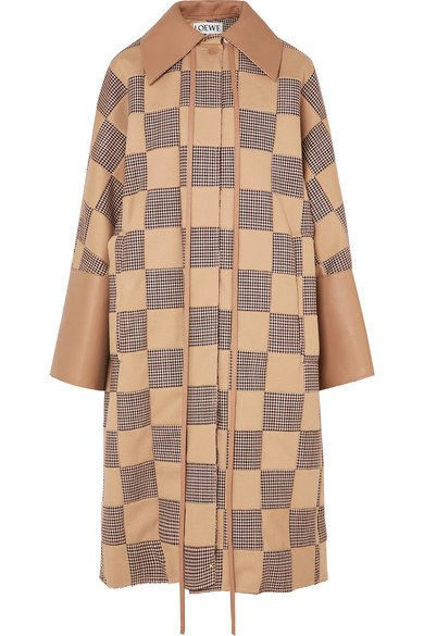 Loewe | Oversized patchwork houndstooth cotton and leather coat | NET-A-PORTER.COM