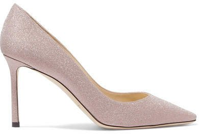 Romy 85 Glittered Leather Pumps - Pink
