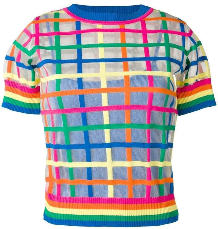 sheer check embroidered T-shirt