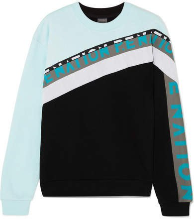 Double Block Paneled Cotton-jersey Sweatshirt - Black