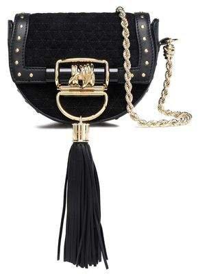Tasseled Leather-trimmed Quilted Suede Shoulder Bag