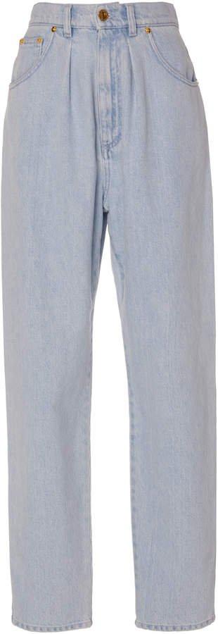 Chambray-Effect Cotton Wide-Leg Pants