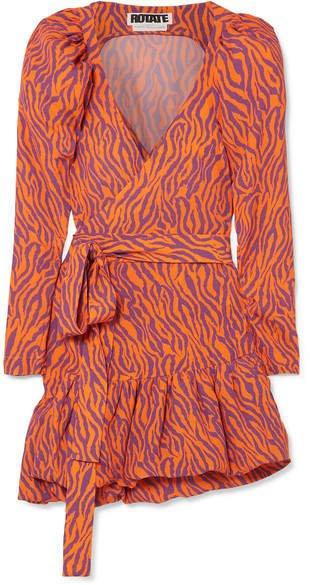 Zebra-print Twill Wrap Mini Dress - Orange
