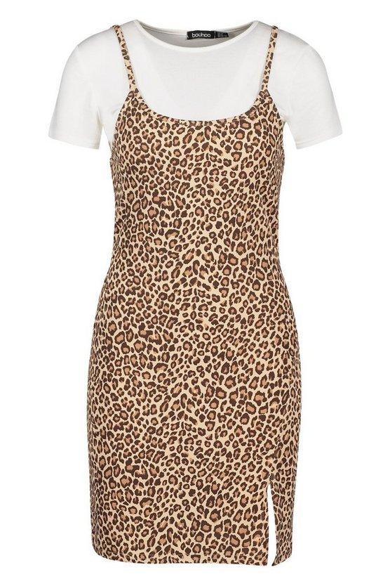 Leopard Cami T-shirt Slip Dress | Boohoo
