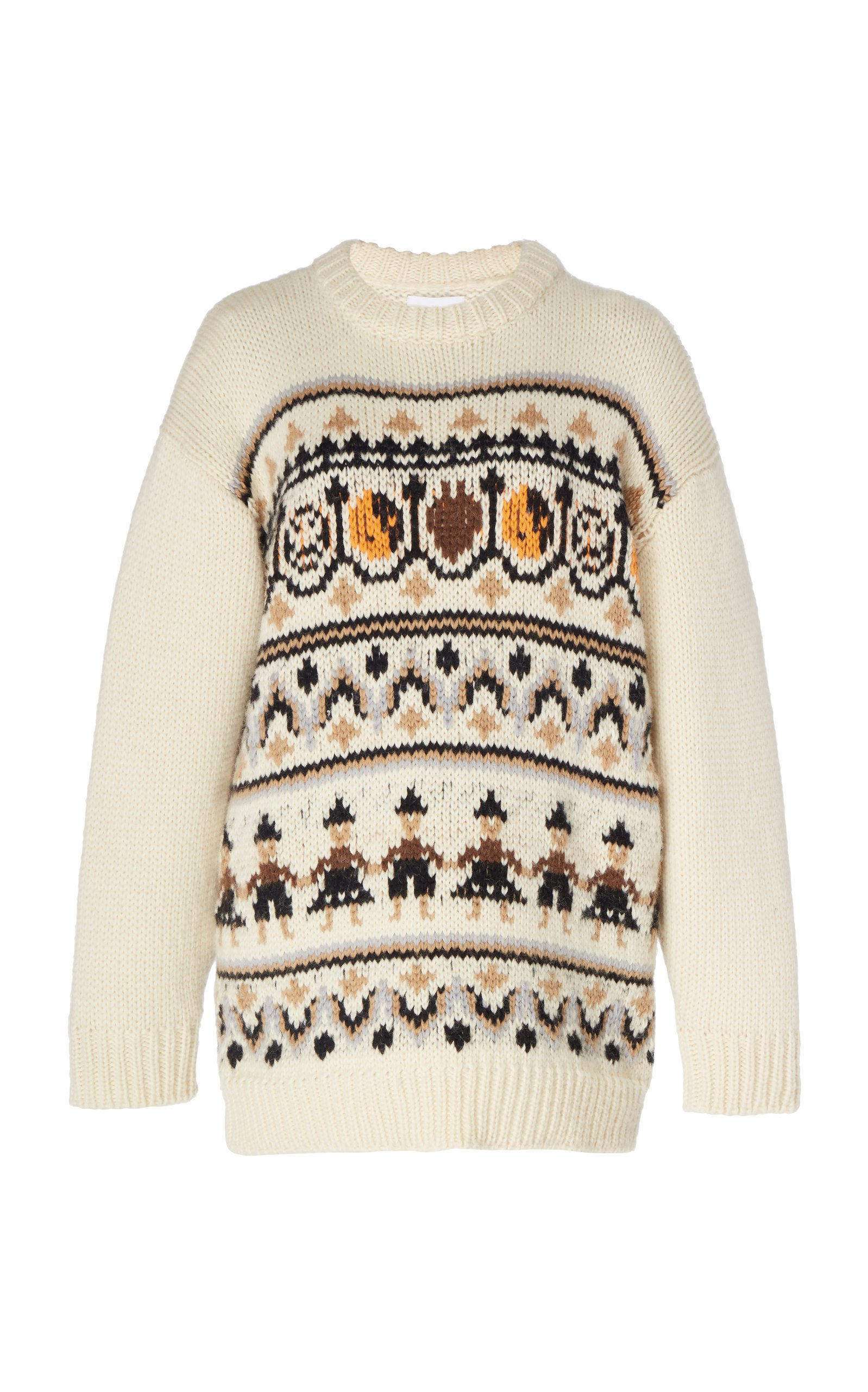 Ganni Intarsia Wool and Alpaca-Blend Sweater Size: L