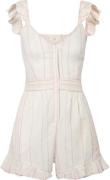 Lucy Embroidered Cotton-voile Playsuit - Ivory