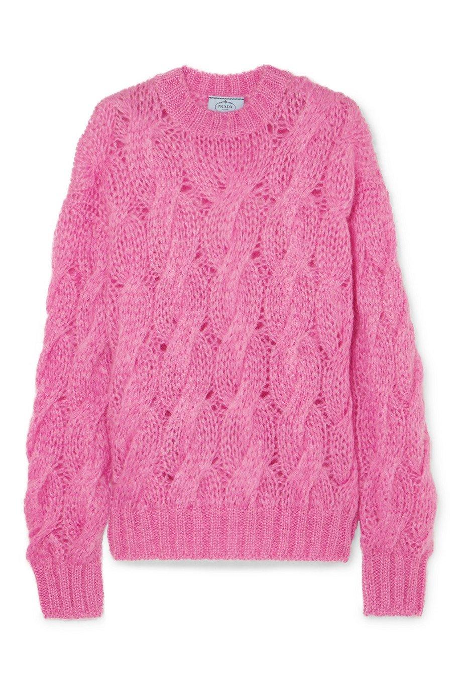 Prada   Cable-knit mohair-blend sweater   NET-A-PORTER.COM