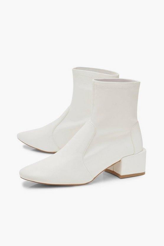 Low Block Heel Sock Boots   Boohoo