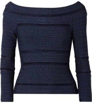 Off-the-shoulder Crochet-trimmed Metallic Bandage Top - Navy