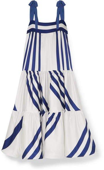 Silvia Tcherassi - Tayrona Striped Silk-blend Satin Maxi Dress - White