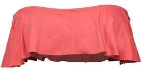 So Solid Tutu Ruffled Bandeau Bikini Top